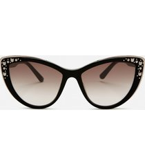 karl lagerfeld women's cat eye frame sunglasses - black