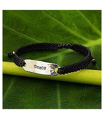sterling silver accent wristband bracelet, 'peace in charcoal' (thailand)