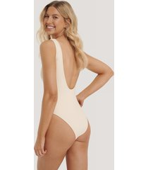na-kd swimwear high leg swimsuit - beige