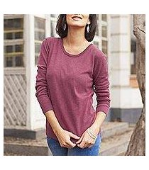 cotton blend pullover, 'warm valley in royal cerise' (peru)