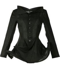 yohji yamamoto bone flared style fitted jacket - black
