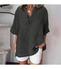 zanzea mujeres cruz cuello en v manga corta camiseta tops de gran tamaño de la blusa sólido plus -gris oscuro