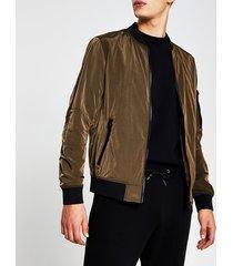river island mens bronze crinkle bomber jacket