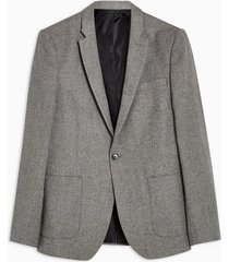 mens grey textured blazer with wool