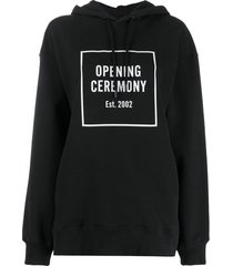 opening ceremony box logo loose-fit hoodie - black
