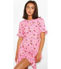 floral print asymetric ruffle hem shift dress, pink