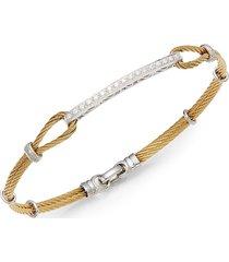 alor women's diamond, 18k yellow gold & steel bracelet