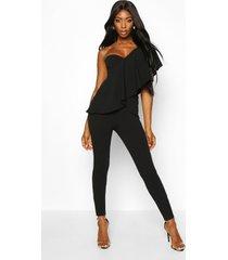 one shoulder ruffle jumpsuit, black