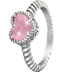 anello cuore in argento 925 rodiato e pietra colorata per donna