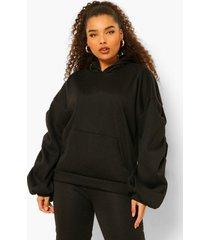 plus oversized hoodie met geplooide mouwen, black
