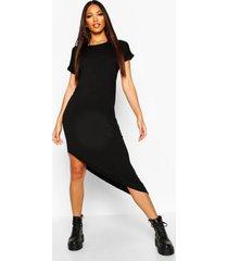 asymmetrische midi-jurk, zwart