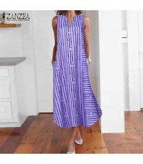 zanzea más el tamaño de las mujeres sin mangas del hombro del tanque del vestido de la raya larga floja camisa -púrpura