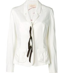 romeo gigli pre-owned lace-up fitted blazer - white