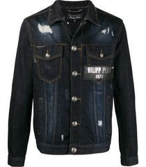 philipp plein destroyed denim jacket - blue