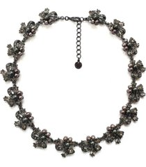 """charter club hematite-tone mixed crystal & imitation pearl ribbon cluster collar necklace, 17"""" + 2"""" extender, created for macy's"""
