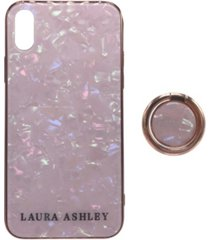 laura ashley tempered glass iphone x case with 360-degree rotatable ring stand holder