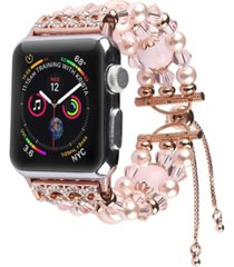 unisex bracelet pink pearl band for apple watch, 42mm