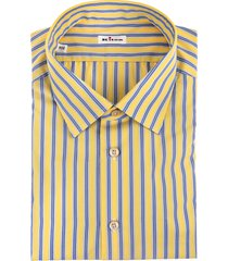 man regular fit yellow shirt with blue multitrack stripes