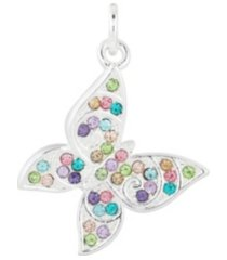 fine silver plated crystal butterfly charm