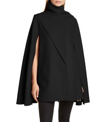 women's valentino scarf detail wool & cashmere cape, size 10 us / 46 it - black