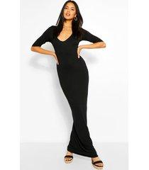 maxi jurk met v-hals en driekwartsmouwen, zwart