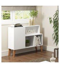aparador 94cm leaves be mobiliário 1 porta 3 prateleiras branco