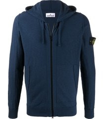 stone island compass logo zipped hoodie - blue
