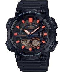 reloj digital hombre casio aeq-110w-1a2 - negro con naranja  envio gratis*