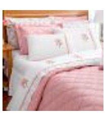 jogo de cama branco clássico queen size 4 peças rosa