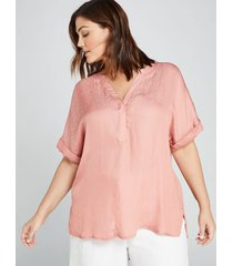 lane bryant women's mixed-media popover top 14/16 berry blush