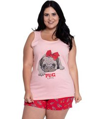 pijama short doll regata plus size pug love luna cuore