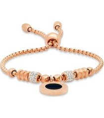 steeltime 18k micron rose gold plated stainless steel drawstring bracelet with enamel greek key design medallion centered
