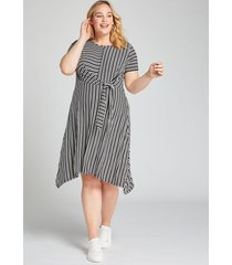 lane bryant women's striped tie-waist fit & flare dress 14/16 black and white stripe
