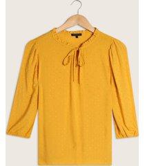 blusa manga 3/4 unicolor con cordón en escote-l