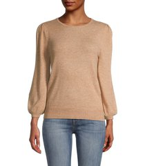 saks fifth avenue women's puffed-sleeve sweater - pearl ivory - size xl