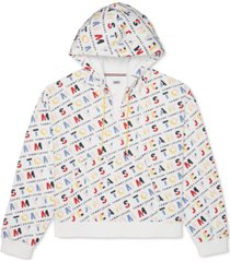 tommy hilfiger adaptive women's logo print extended pull quarter-zip hoodie