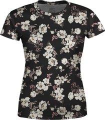 camiseta baby look feminina flor de cerejeira estampa total - preto - feminino - poliã©ster - dafiti