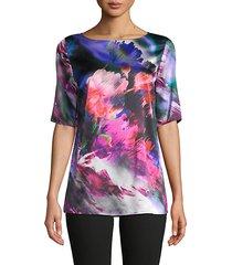 floral scape stretch-silk top
