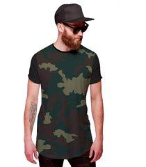 camiseta di nuevo longline camuflada verde exército personalizada preta