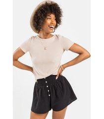averie button front shorts - black