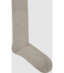 reiss parker - fine-stripe design socks in soft grey, mens
