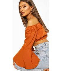 off the shoulder flute sleeve crop top, tan