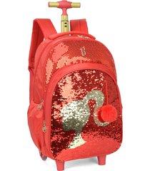 mochila de rodinha com alã§a paetãªs magicos barbie luxcel 51322 vermelha - vermelho - menina - dafiti