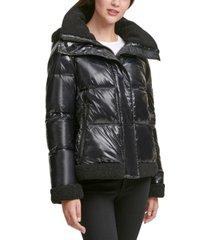 calvin klein fleece-trim hooded puffer coat