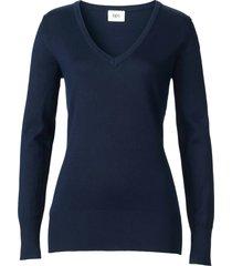 maglione in filato fine con scollo a v (blu) - bpc bonprix collection