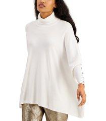 alfani petite turtleneck poncho sweater, created for macy's