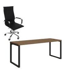 mesa de escritório kappesberg 1.90m office com cadeira trevalla tl-cde-10-1