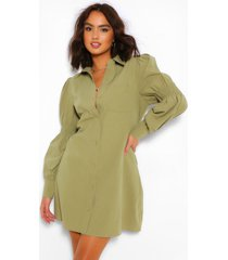 oversized blouse jurk met franjemouwen en knopen, kaki