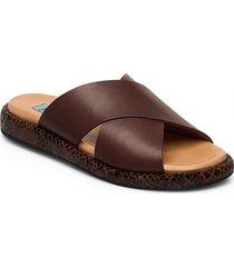 plateau cross mix shoes summer shoes flat sandals brun apair