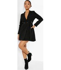 petite getailleerde blazer jurk met riem met d-ring, black